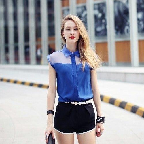 2012 Summer Fashion Sexy Turn-down Collar Sleeveless Slim Chiffon Tshirt , Girls Top in Black, Blue Color