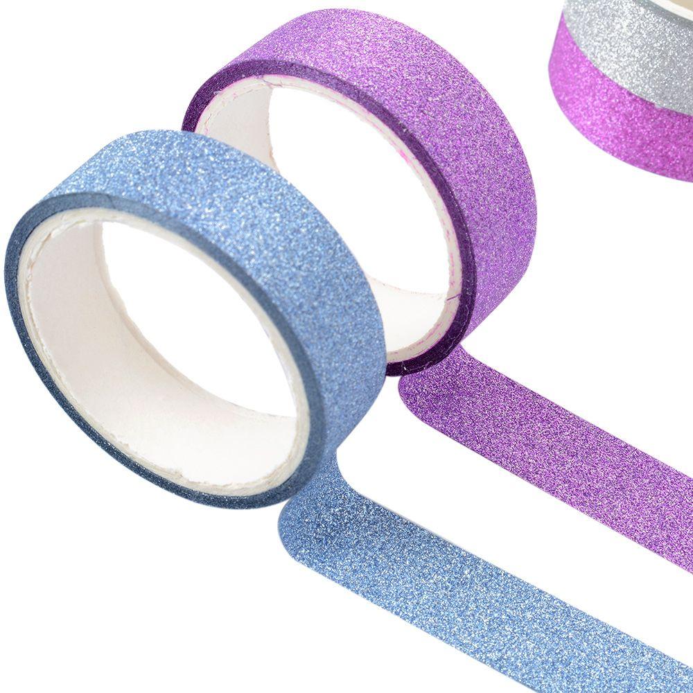 Kawaii adhesive silver golden glitter masking washi tape for Decorazioni autoadesive