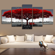 Modern Canvas Pictures HD Prints 5 Pieces Red Tree Red Bench Landscape Home Decor Wall Art Painting Poster No Frame canvas painting modular wall art frame home decor 5 pieces new york city night scene pictures hd print brooklyn bridge poster