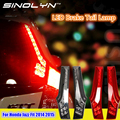 Para honda jazz fit 2014 2015 lateral traseira pilar led luzes traseiras luzes de freio luz de nevoeiro retrofit lente fumado vermelho tunning