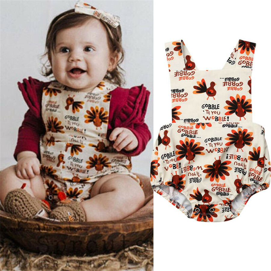 Infant Newborn Baby Girls Cotton Cartoon Turkey Romper Clothes Playsuit Outfit Summer Jumpsuit(China)