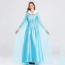 Queen Elsa Dresses Elsa Elza Costumes Princess Anna Blue Dress For Girls Party Vestidos Fantasia Adult Women Clothing Party Set недорого
