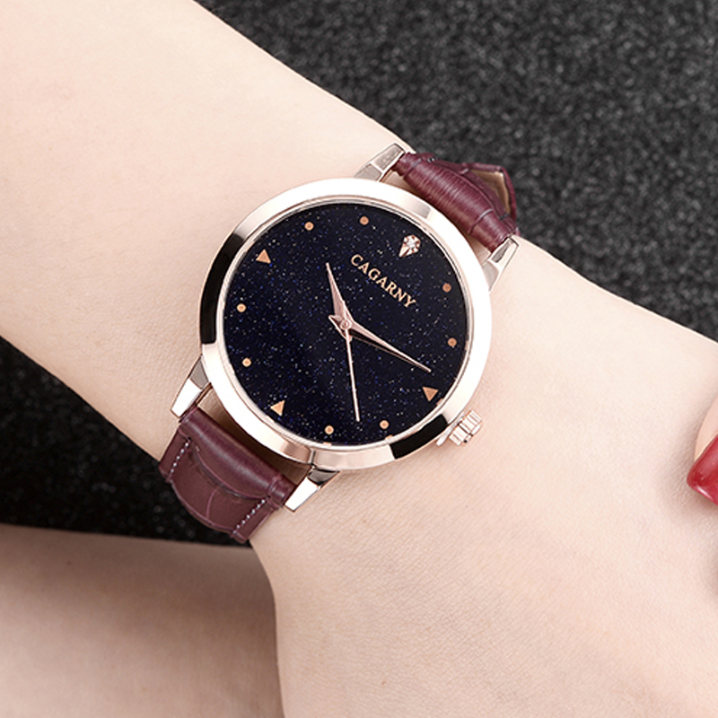 luxury brand cagarny quartz watch for women blue sky dials creative casual ladies watches rose gold case drop shipping (28)