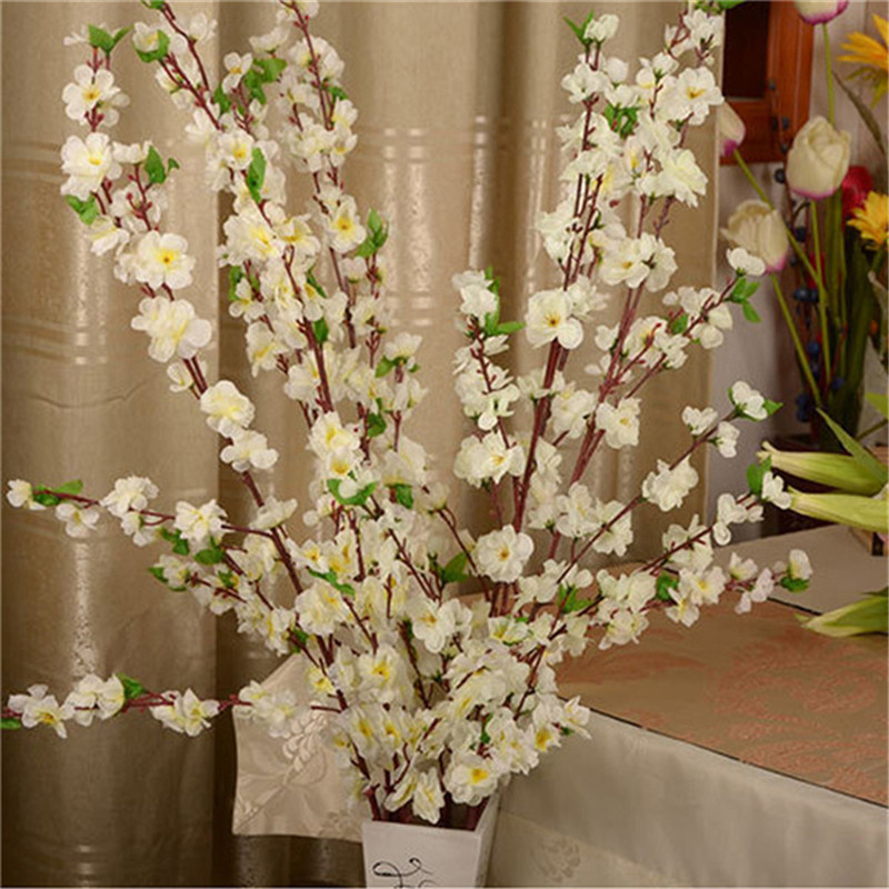 Branch Fake Peach-Blossom Wedding-Decor Flower-Tree Artificial-Flower-Branch Cherry-Spring title=