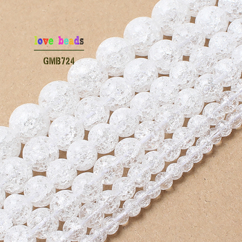 Wholesale Natural White Cracked Crystal Round Beads For Jewelry Making 15.5inch/strand 4/6/8/10/12mm Pick Size -F00092 15 5 strand natural white