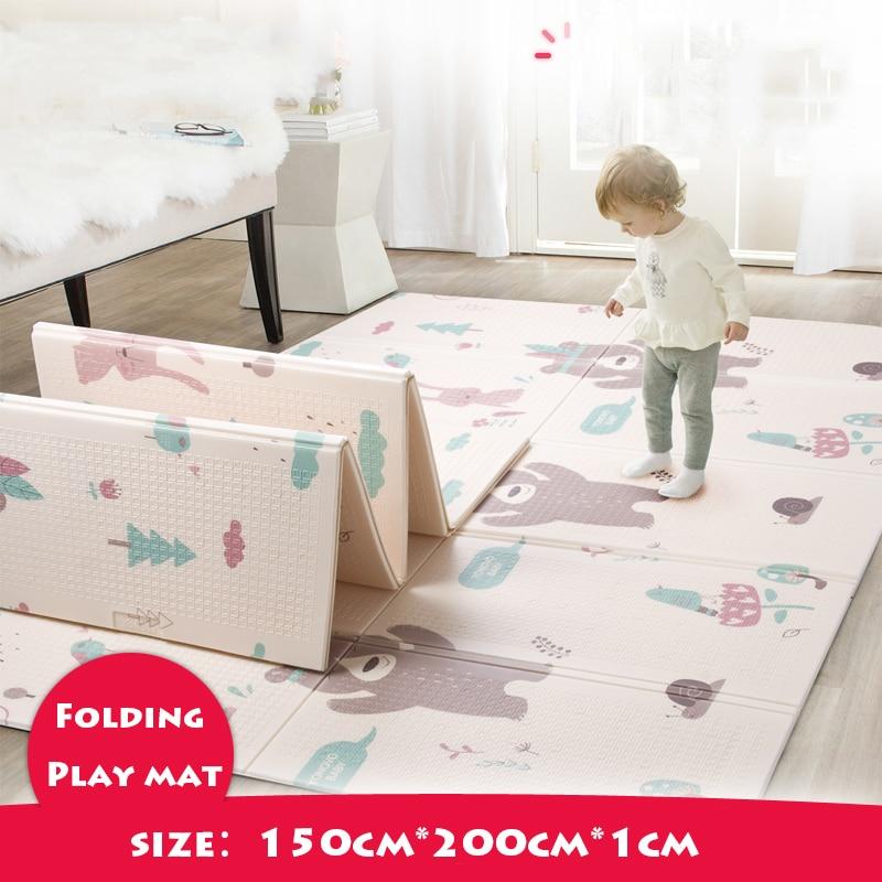 Tapis de jeu pour bébé pliable brillant épaissi Tapete Infantil maison bébé chambre Puzzle tapis XPE 150X200 CM épissage 1 CM épaisseur - 2