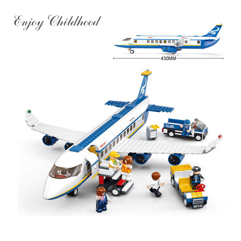 New 2018 New B0366 Blue Airbus Airplane Model Building Blocks 463PCs/Set Educational Bricks Toy Brinquedos Menino Legoings loz gas station diy building bricks blocks toy educational kids gift toy brinquedos juguetes menino