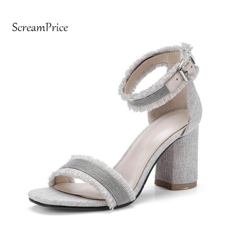 Woman Drnim Open Toe Sqaure High Heel Sandals Fashion Buckle Dress High Heel Shoes Woman Blue Beige