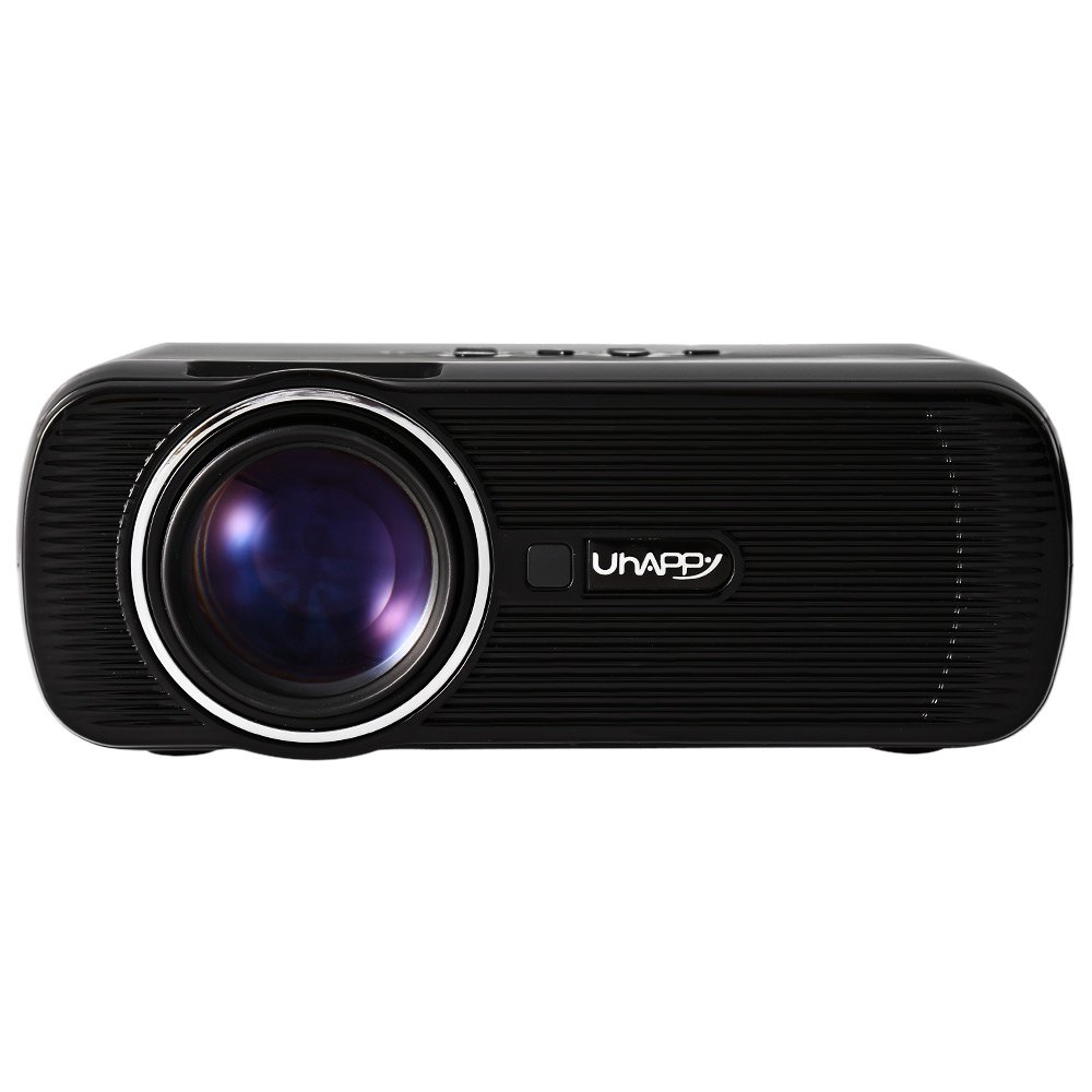 Exquisito diseño full hd uhappy u80 lcd proyector 1000lm 800x480 píxeles incorpo
