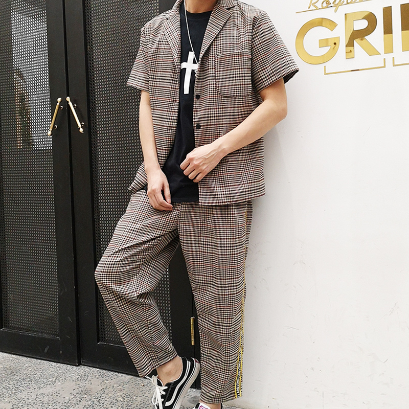 M 6XL!! retro casual xadrez manga curta conjunto de camisa de colarinho solto camisa de cabelo estilista maré britânica.