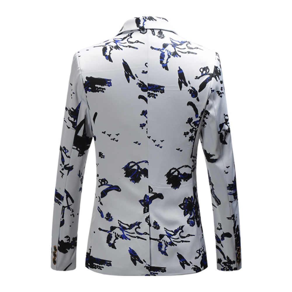 プラスサイズ 5XL 6XL ファッション男性スリムフィットカジュアルブレザー男性印刷スーツコートの男服白ネイビーワイン赤 2018 春