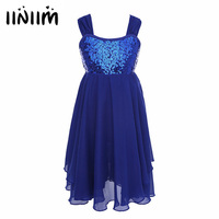 Iiniim Navy Blue Kids Girls Children Dance Leotard Ballet Tutu Chiffon Sequins Dress Girls Ballet Dancewear
