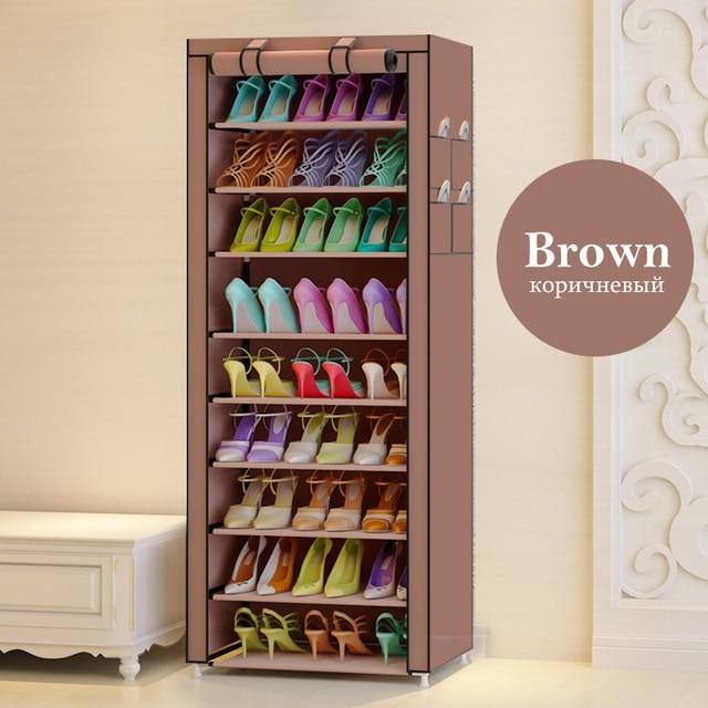 Actionclub Oxford Cloth Minimalist Multi-functional Dustproof Shoe Cabinet Shoes Racks 10 Layer 9 Grid Shoe Organizer Shelf 2