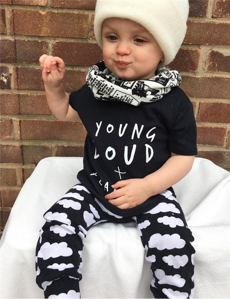 Summer new infant clothes baby boy clothes Cotton letters printed T ...