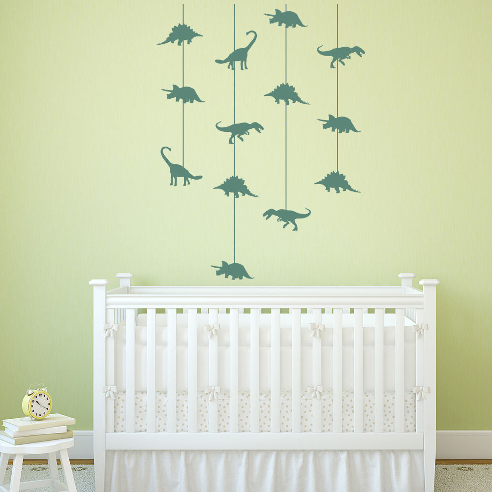 Dinosaur Cot Mobile Wall Stickers Jurassic Dino Wall Decal Baby ...