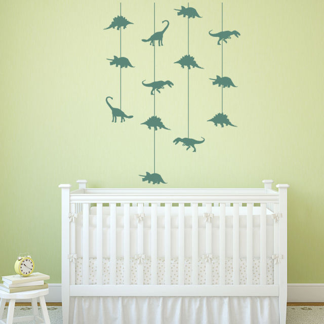 Dinosaur Cot Mobile Wall Stickers Jurassic Dino Wall Decal Baby Nursery  Decor New Arrivals Wallpaper High