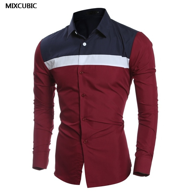 399b49a0 MIXCUBIC England style Personalized retro Mixed colors shirts for men wine  red Casual slim Mixed colors shirts men size M-XXL
