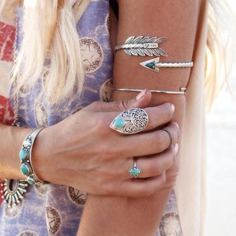 Браслет на руку в стиле панк и браслеты для женщин, богемский этнический Древний серебряный цвет, браслет на запястье со стрелками, эффектные ювелирные изделия на руку