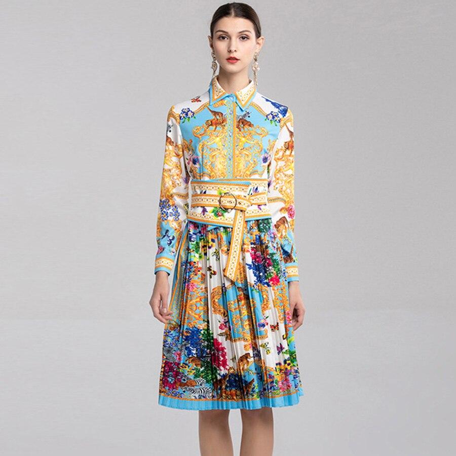 Kadın Giyim'ten Elbiseler'de AELESEEN Moda Kadın Elbiseler 2019 Yaz Yeni Hayvan Çiçek turn aşağı Yaka Zarif Baskı Sashes Pist Pileli Elbise'da  Grup 2