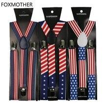 1 дюйм широкий США американский флаг шаблон подтяжки унисекс клип-на звезда подтяжки эластичные тонкие подтяжки Мужские Женские