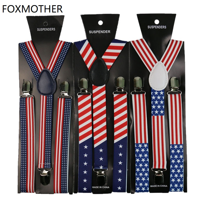 1inch Wide USA America Flag Pattern Suspender Unisex Clip-on Star Braces Elastic Slim Suspenders Mens Womens