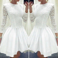 Unique White Lace Short Prom Dresses 2016 Elegant Scoop Full Sleeve Short Prom Dresses Lovely Evening Party Cocktail Dresses