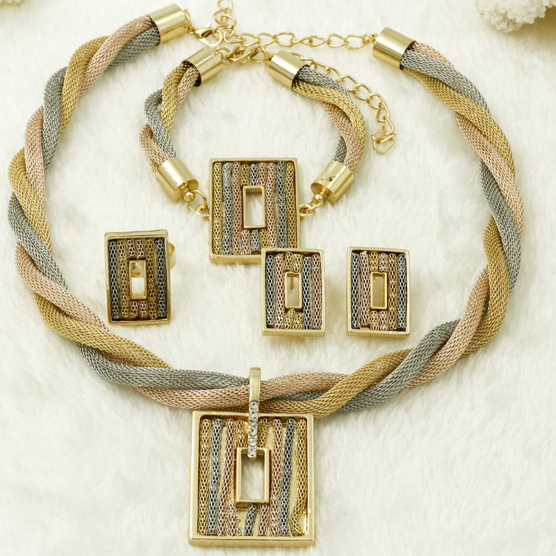 New Africa Women Wedding Jewelry Accessories Fashion Turkish jewelry Tassel Necklace Square Pendant Jewelry Sets