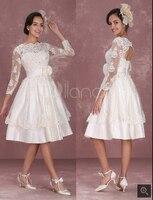 Vintage Wedding Dresses 1950's Short Bridal Dress Lace Applique Long Sleeve Keyhole Flower Sash Tiered Wedding Reception wedding