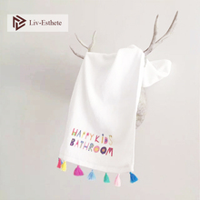 Liv-Esthete Nordic Happy Kids 100 % Cotton White Tassel Towel Super Soft Quickly Dry Bath 35x 75cm 70x140cm For Bathroom