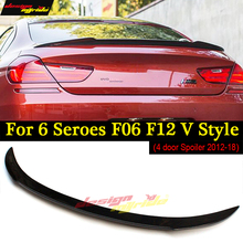 F06 Spoiler Wing F12 Rear Trunk Spoiler Wing For BMW F06 F12 640i 650i 4 door Sedan Rear Trunk Spoiler Wing V-style Carbon 12-18 цена