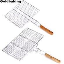 Grilling-Basket Nonstick Fish-Hamburger Stainless-Steel Goldbaking Portable BBQ