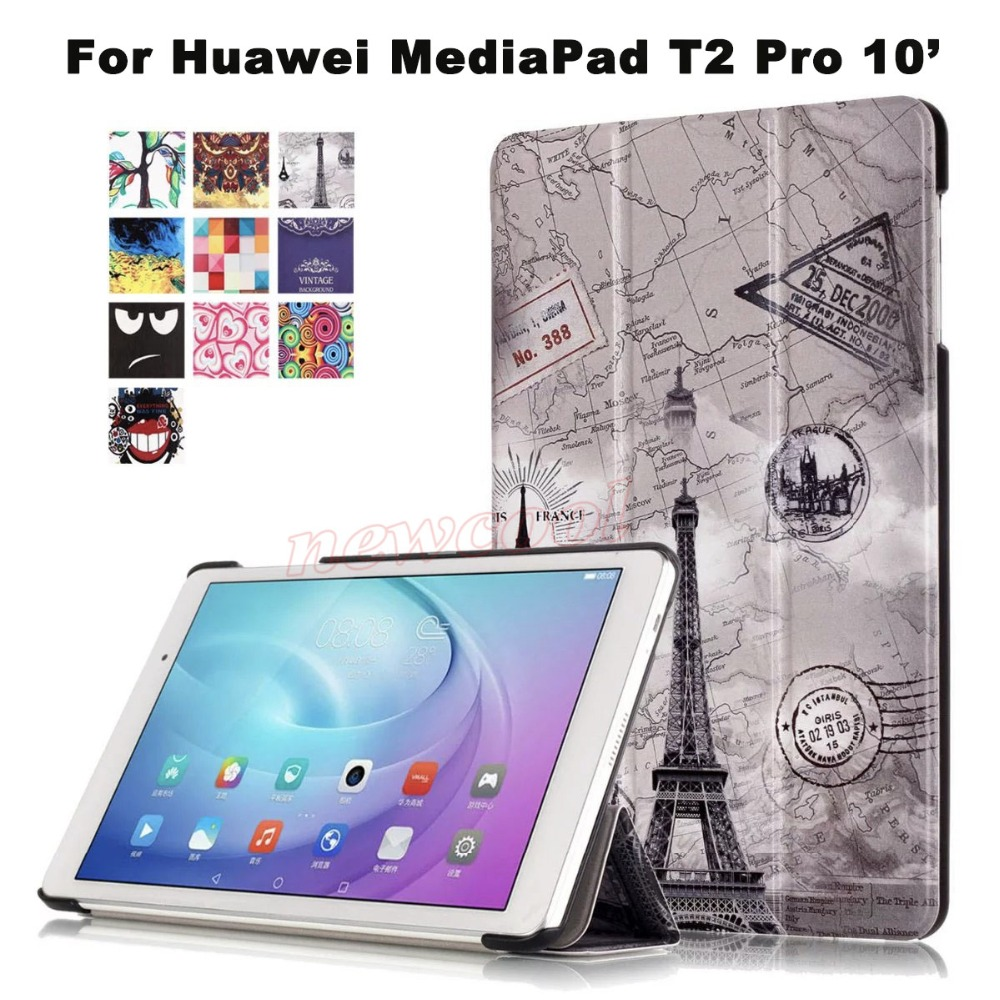 Magnet Smart Flip Cover For Huawei MediaPad T2 Pro 10.0 10 FDR-A01W FDR-A03L Tablet Case Colorful painted Leather Case CY slim folio colorful painted pu leather case cover for huawei mediapad t2 pro 10 0 fdr a01w fdr a03l tablet pc screen film