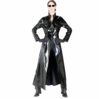 Unisex Mężczyźni Kobiety Bodysuit Catsuit Sexy Długi Płaszcz Skórzany Czarny PCV dress matryca halloween cosplay gay lateksowy kostium sml xl