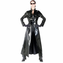 Unisex Men Women Catsuit Sexy Leather Long Coat Black PVC Bodysuit Dress The Matrix Halloween Cosplay Gay Latex Costume S M L XL
