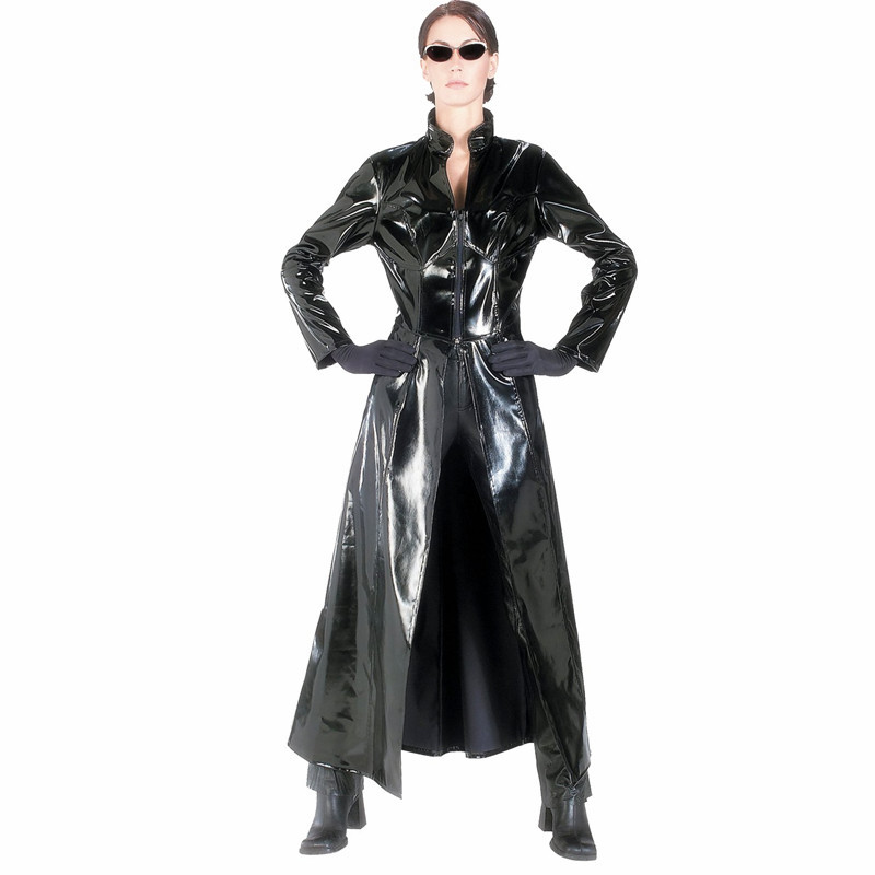 Unisex <font><b>Men</b></font> Women Catsuit <font><b>Sexy</b></font> Leather Long Coat Black PVC Bodysuit Dress The Matrix <font><b>Halloween</b></font> Cosplay Gay Latex Costume S M L XL image