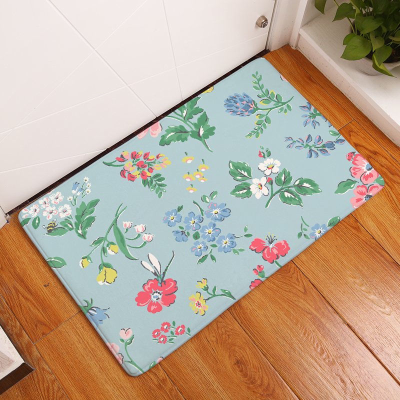 Flannel Floor Mats Small Floral Printed Bedroom Living Room Carpets ...