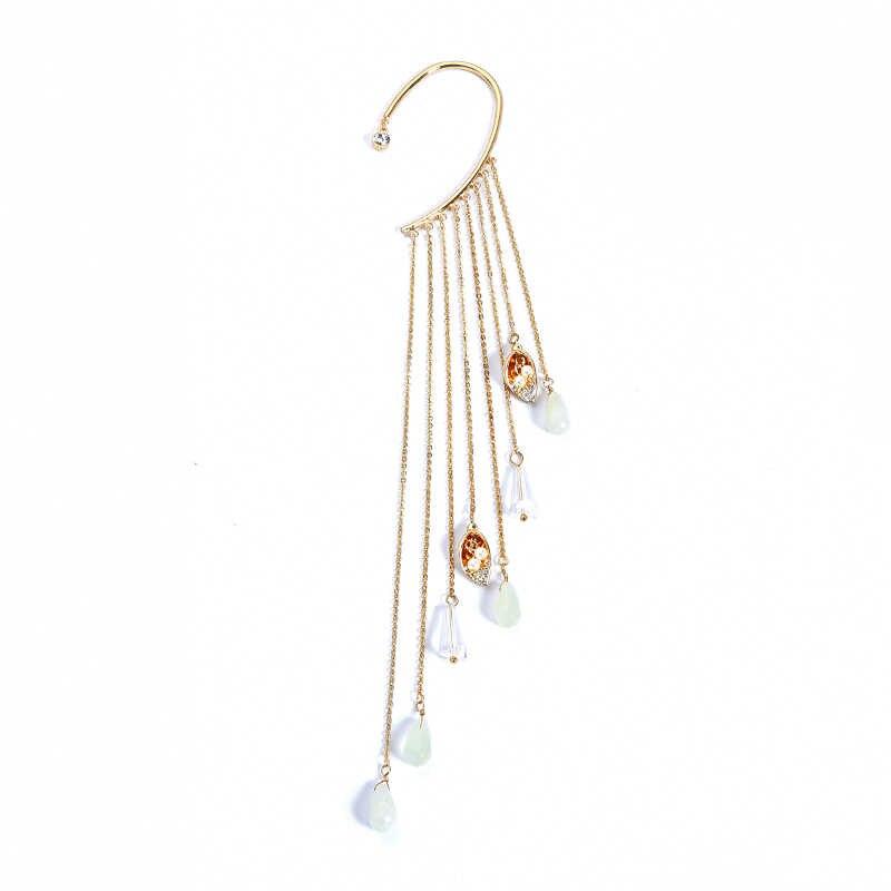 キス私合金模造真珠タッセルクリップイヤリングダングリングハート羽フープイヤリング耳カフ 2018 女性アクセサリー