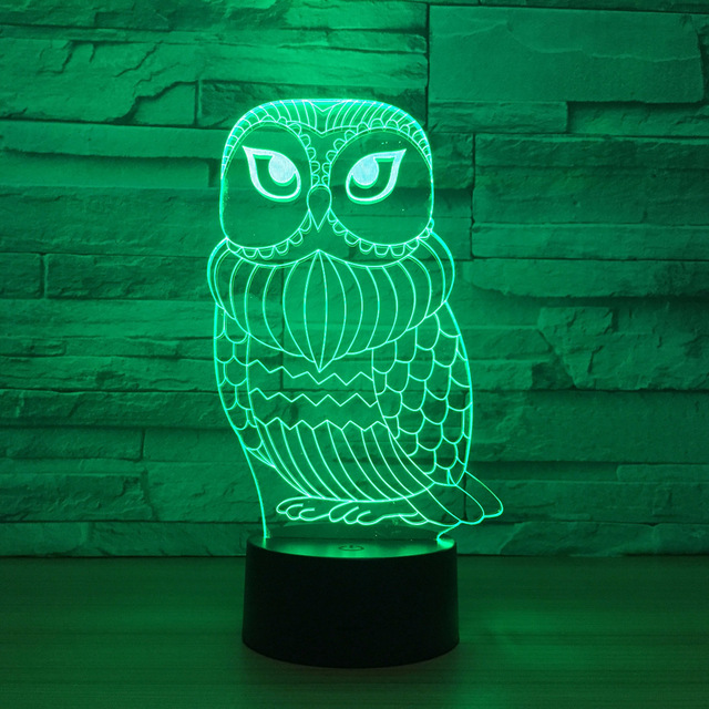 Aliexpress.com : Buy 3D Lamp Owl 7 Color Led Night Lamps for Kid ...