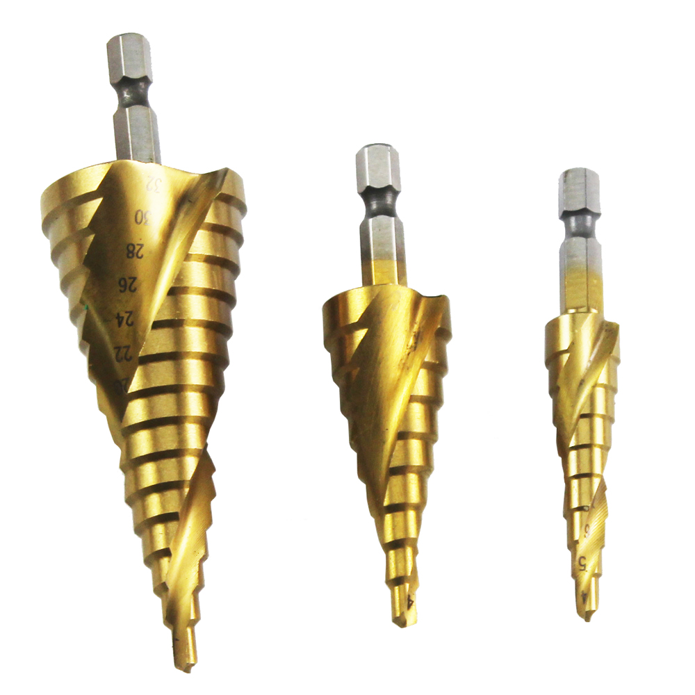 4-12/4-20/4-32mm 3PCS Taper Point Drill Bits Titanium Coated Spiral Grooved Step Drill Bit Set Hex Shank 3 175 12 0 5 40l one flute spiral taper cutter cnc engraving tools one flute spiral bit taper bits