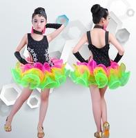 Bright Color Stage Performance Girls Costumes Latin Dance Clothing Sequin Dress Kids Latin Salsa Dresses Samba Dance Costumes