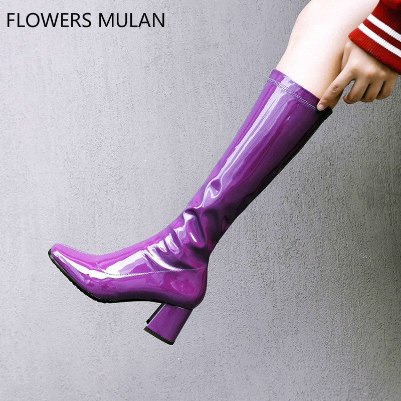 New Arrival Purple Black Patent Leather Bling Women Long Boots Mid-Calf Square Toe And Heel Lady Fashion botas Shoes Side ZipperNew Arrival Purple Black Patent Leather Bling Women Long Boots Mid-Calf Square Toe And Heel Lady Fashion botas Shoes Side Zipper