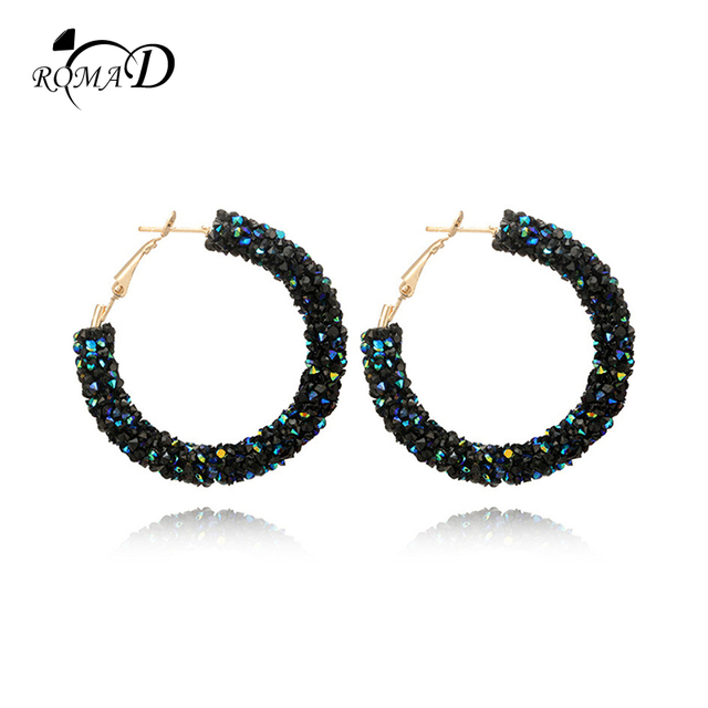 ROMAD Brand Fashion Charm Austrian crystal hoop earrings Geometric Round Shiny rhinestone big earring jewelry women earing R4