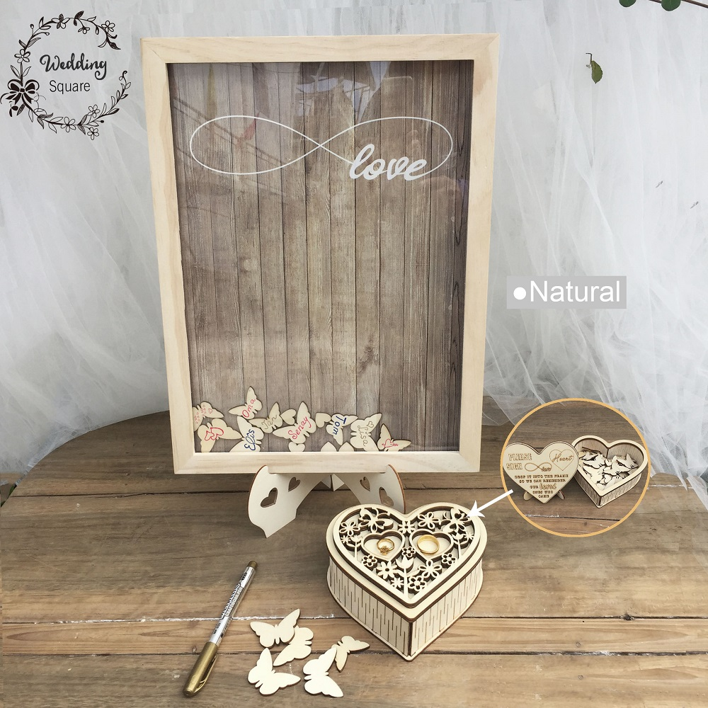 Wish Box Butterfly Wedding Decoration Rustic Sweet Wedding Guestbook Heart Drop box Wedding drop box 3D