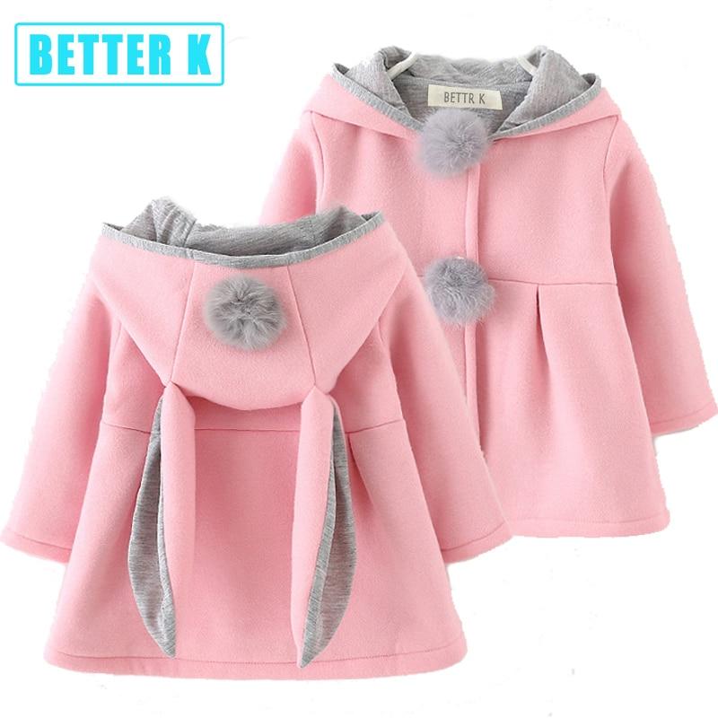 Girls Hooded Coat Jacket Bunny Ear Fleece Winter Autumn Warm Outwear Cute Tops