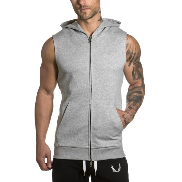 Zogaa 2019 Summer Sleeveless Mens Hoodies Fitness Jogging Sweatshirts Men Streetwear Supreme Hoodie Black Plus Size S-4XL