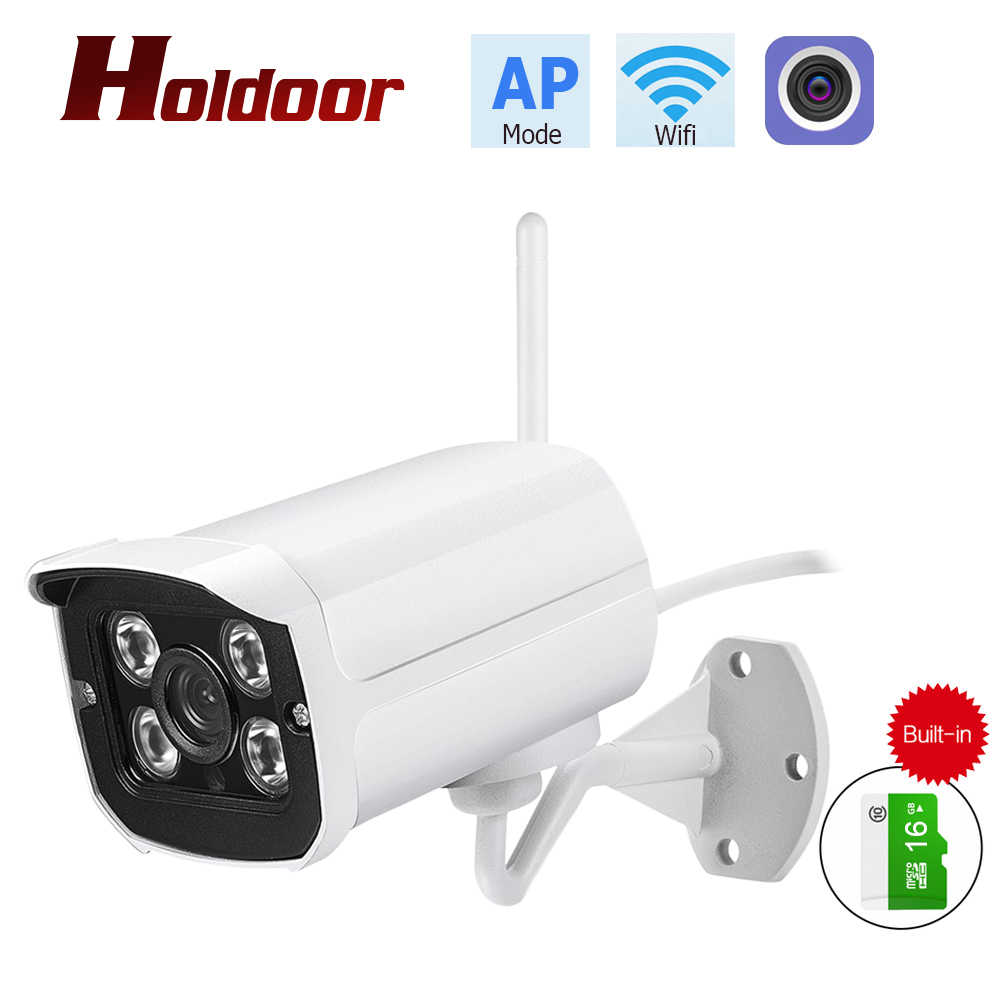 Holdoor Wireless Wifi ONVIF IP Camera 1080P AP Mode P2P CCTV Bullet IP66  Waterproof Outdoor/Indoor Cam Built-in 16GB memory card