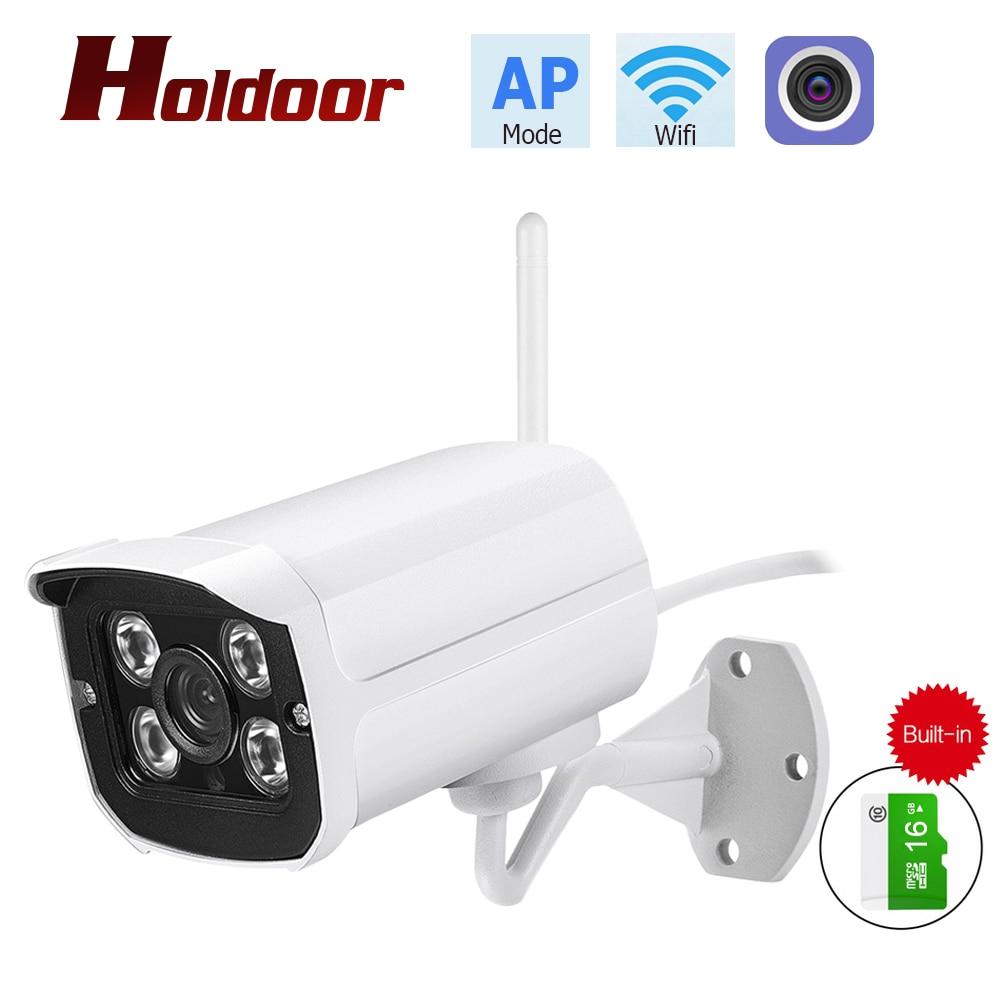 Holdoor Wireless Wifi ONVIF IP Camera 1080P AP Mode P2P CCTV Bullet IP66 Waterproof Outdoor/Indoor Cam Built-in 16GB memory card