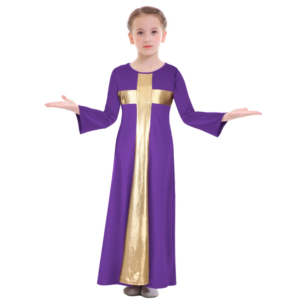 Girls Kids Lyrical Praise Robe Dress Liturgical Ballet Ballroom Dance Costume