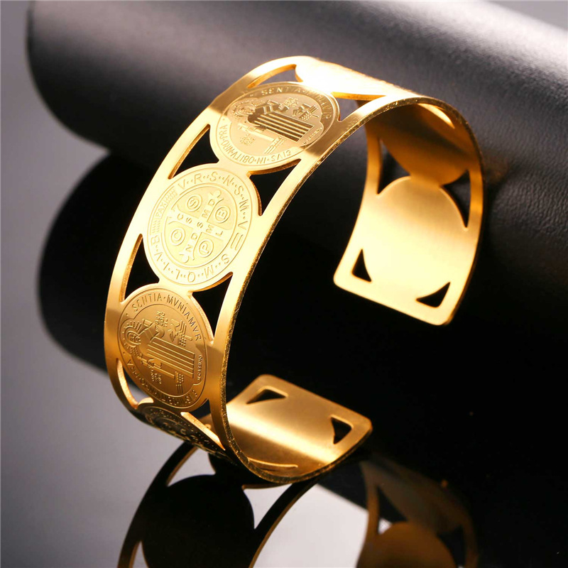 Collare Saint Benedict Medal Bangles 316L Stainless Steel Men Jewelry Gold Color St Benedict Medal Cuff Bracelets Women H162 8