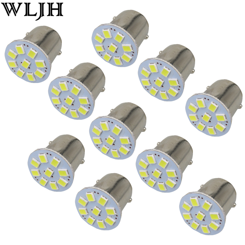 WLJH 10x 24V Led Car Light 1156 BA15S P21W S25 Led SMD External Tail Light Brake Reverse Backup Lights Turn Signal Lamp Bulbs wljh 2x canbus 20w 1156 ba15s p21w led bulb 4014smd car backup reverse light lamp for bmw 228i 320i 328d 328i 335i m3 x1 x4 2015